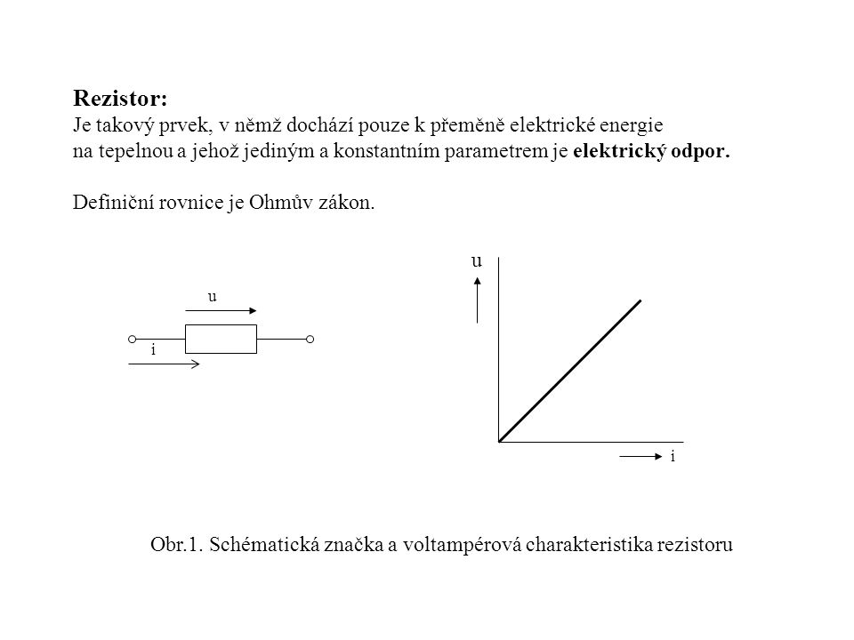 Obr.1. Schématická značka a voltampérová charakteristika rezistoru