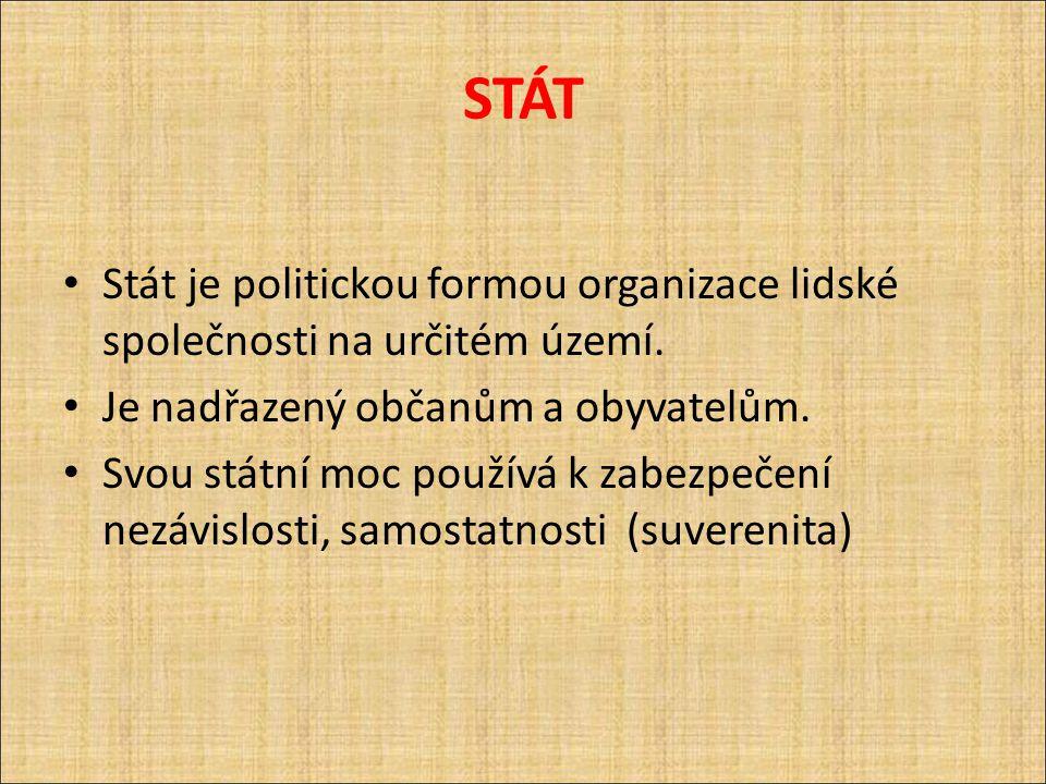 STÁT Stát je politickou formou organizace lidské společnosti na určitém území. Je nadřazený občanům a obyvatelům.