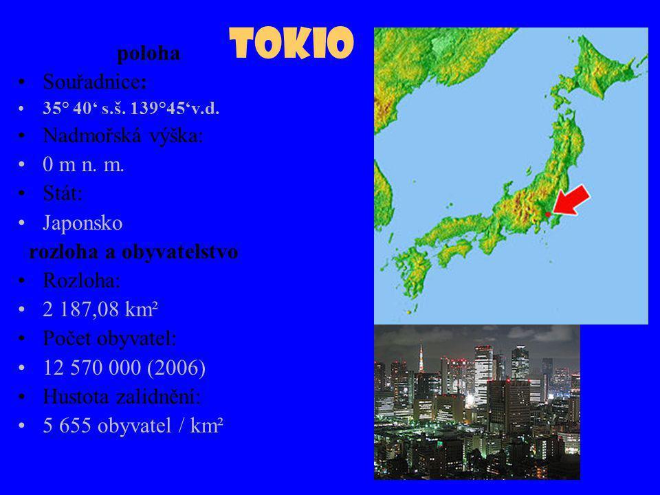 Tokio poloha Souřadnice: Nadmořská výška: 0 m n. m. Stát: Japonsko