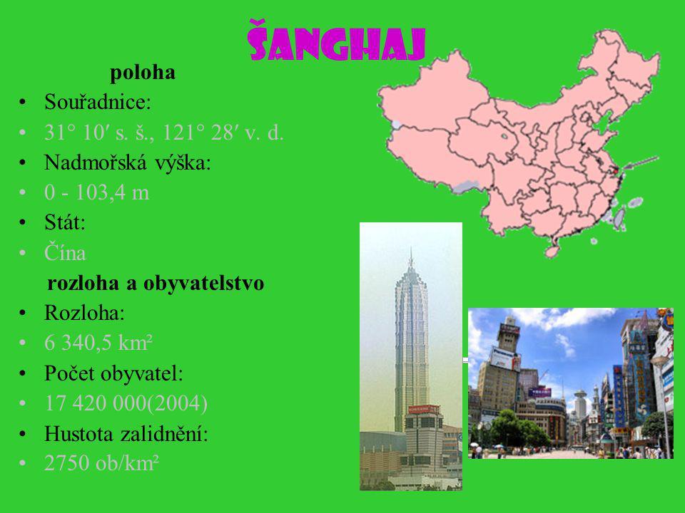 Šanghaj poloha Souřadnice: 31° 10′ s. š., 121° 28′ v. d.