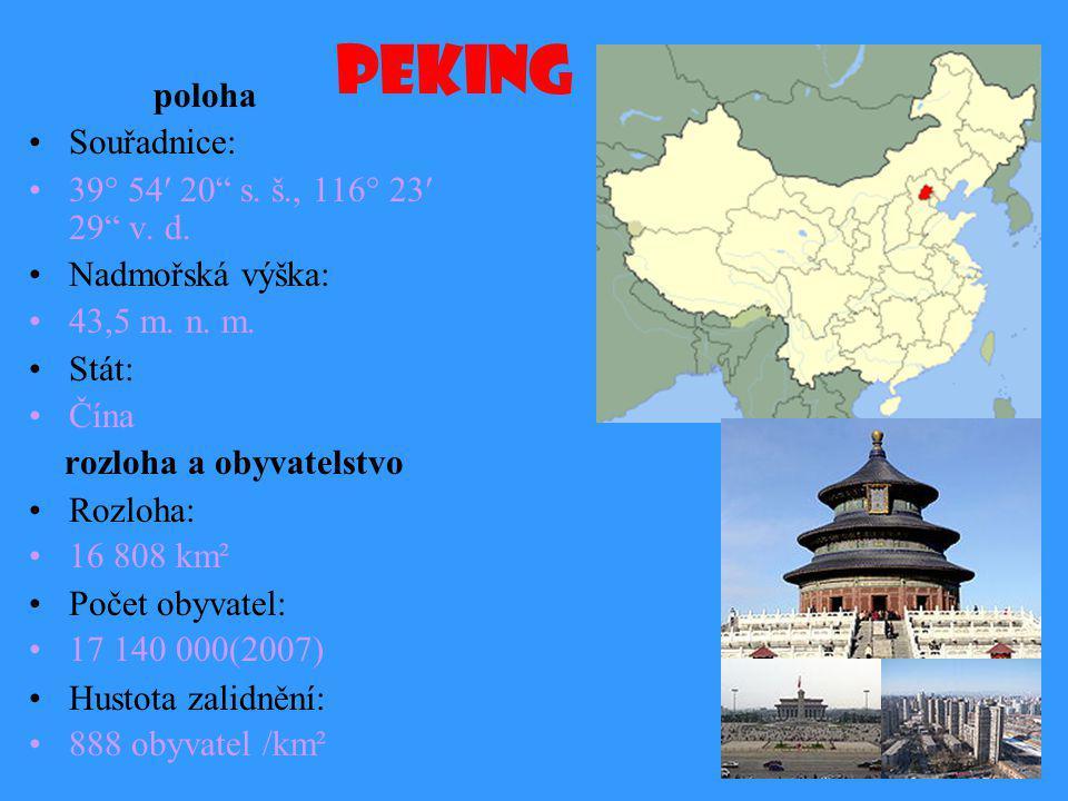 Peking poloha Souřadnice: 39° 54′ 20 s. š., 116° 23′ 29 v. d.