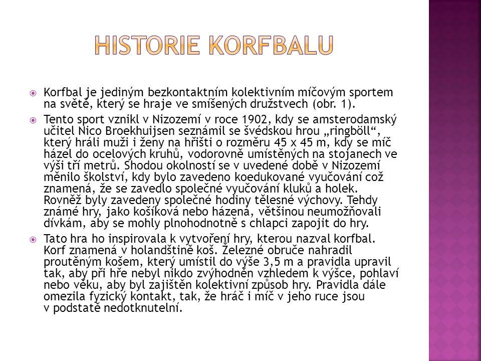HISTORIE KORFBALU Korfbal je jediným bezkontaktním kolektivním míčovým sportem na světě, který se hraje ve smíšených družstvech (obr. 1).