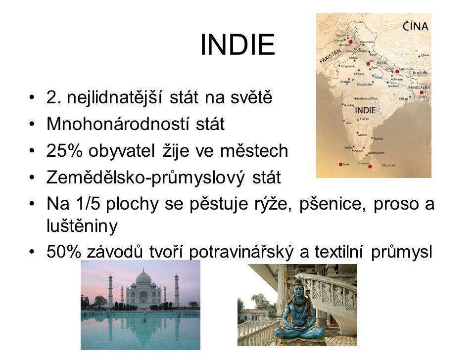 INDIE 2. nejlidnatější stát na světě Mnohonárodností stát