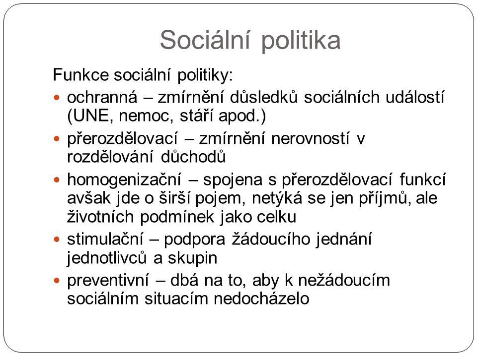 Sociální politika Funkce sociální politiky: