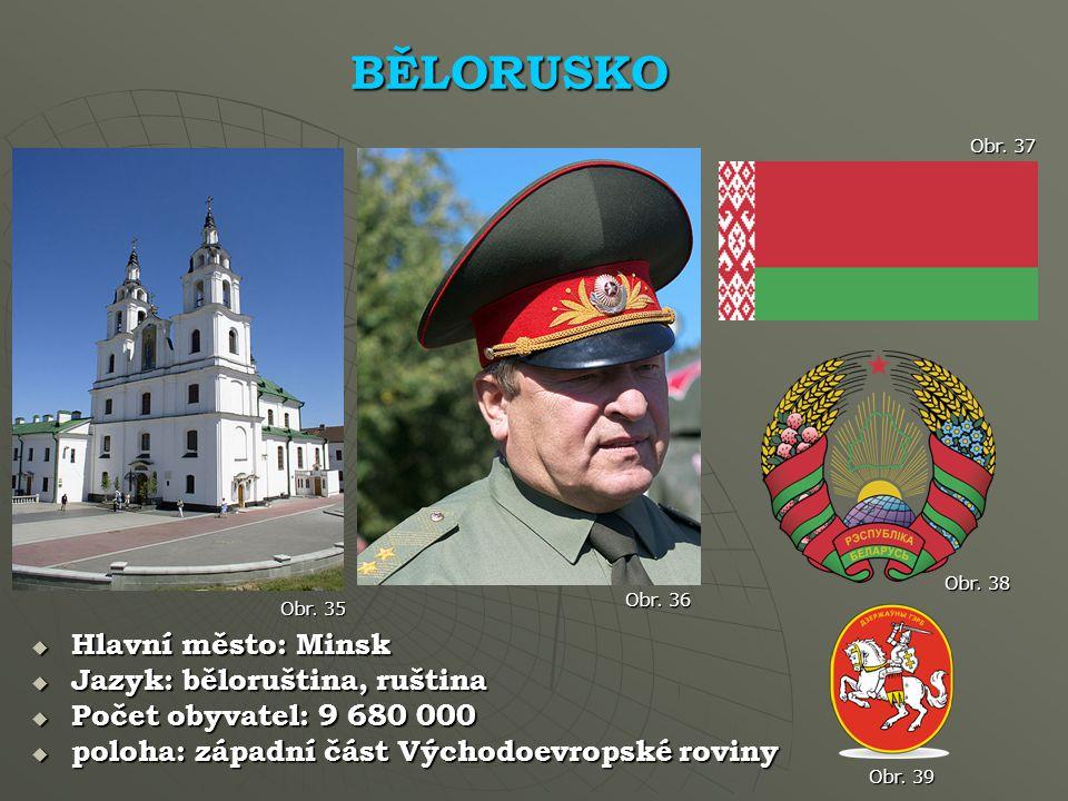 BĚLORUSKO Hlavní město: Minsk Jazyk: běloruština, ruština