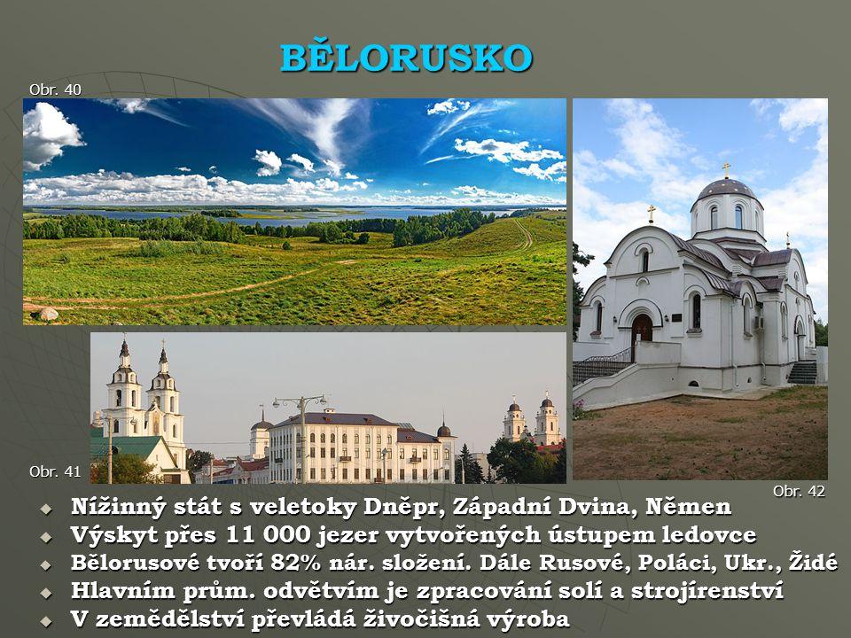BĚLORUSKO Nížinný stát s veletoky Dněpr, Západní Dvina, Němen