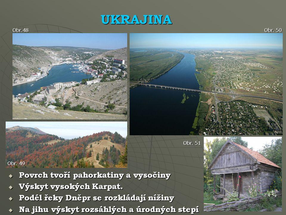 UKRAJINA Povrch tvoří pahorkatiny a vysočiny Výskyt vysokých Karpat.