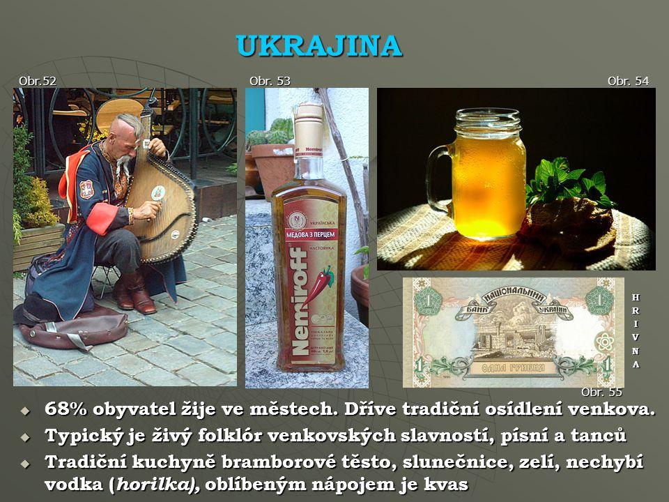 UKRAJINA Obr.52. Obr. 53. Obr. 54. H. R. I. V. N. A. Obr. 55. 68% obyvatel žije ve městech. Dříve tradiční osídlení venkova.
