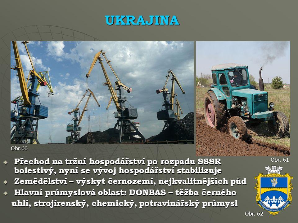UKRAJINA Obr.60. Přechod na tržní hospodářství po rozpadu SSSR bolestivý, nyní se vývoj hospodářství stabilizuje.
