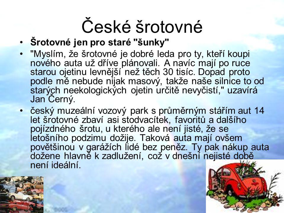 České šrotovné Šrotovné jen pro staré šunky