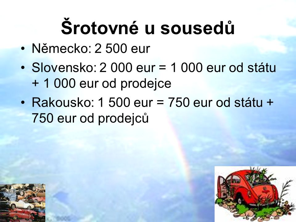 Šrotovné u sousedů Německo: 2 500 eur