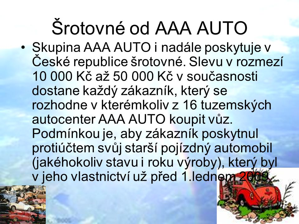 Šrotovné od AAA AUTO