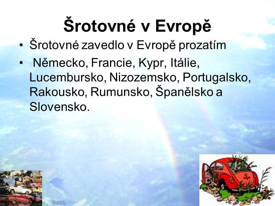 Šrotovné v Evropě Šrotovné zavedlo v Evropě prozatím