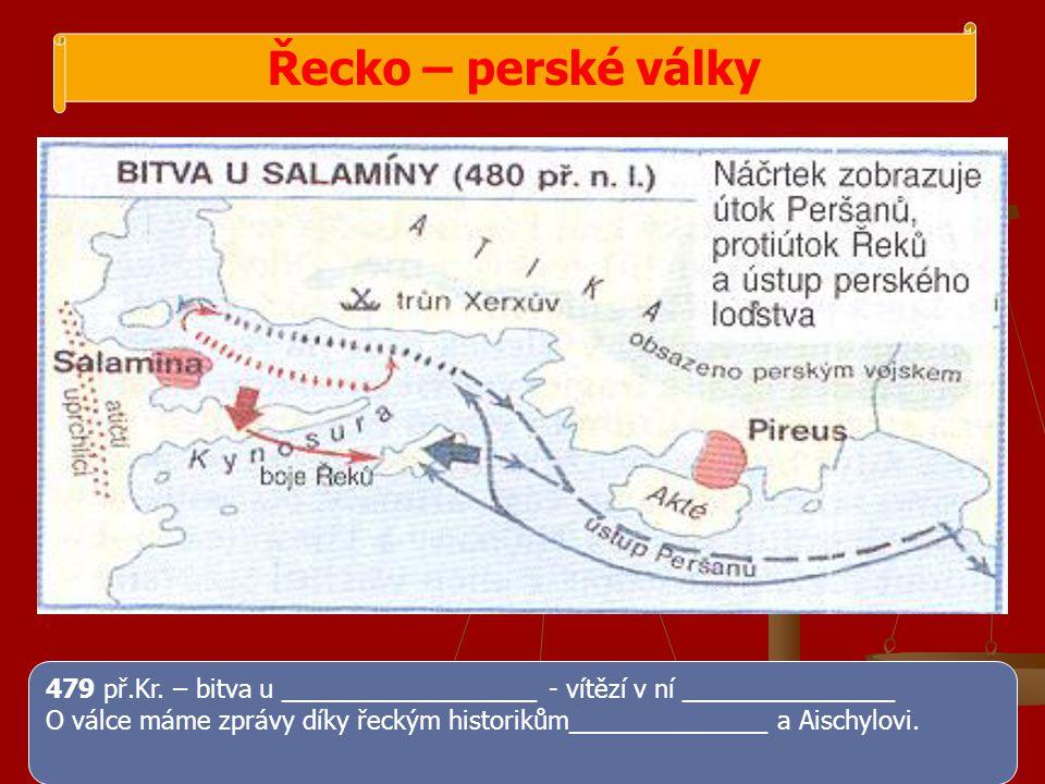 Řecko – perské války 479 př.Kr. – bitva u __________________ - vítězí v ní _______________.