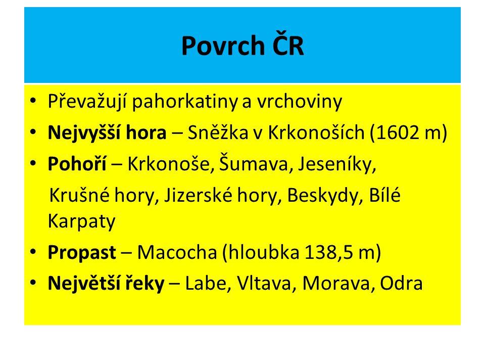 Povrch ČR Převažují pahorkatiny a vrchoviny