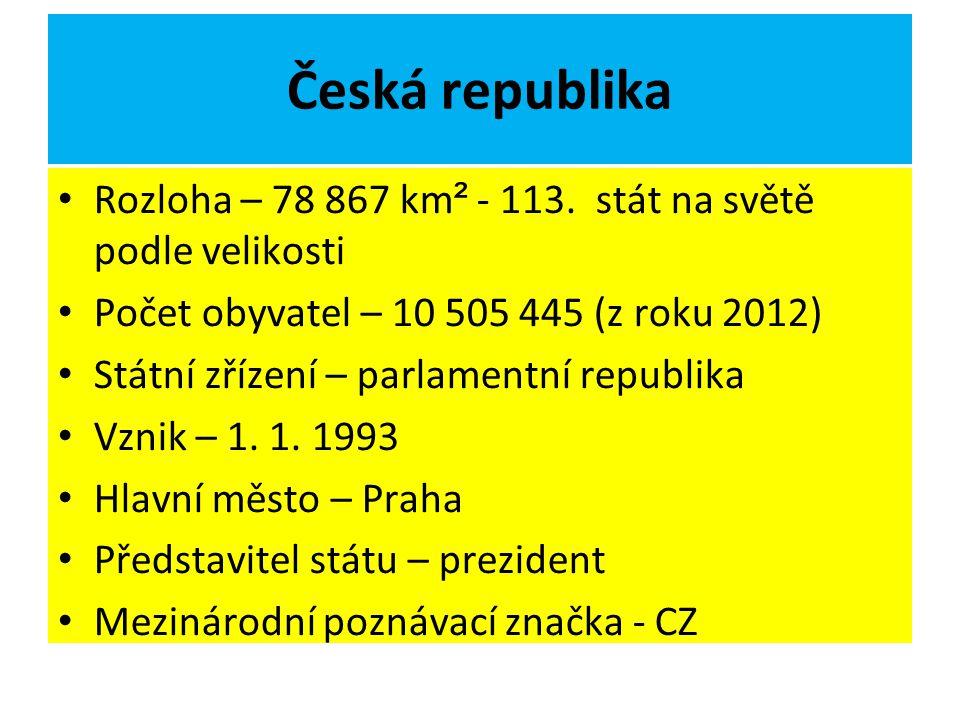 Česká republika Rozloha – 78 867 km² - 113. stát na světě podle velikosti. Počet obyvatel – 10 505 445 (z roku 2012)
