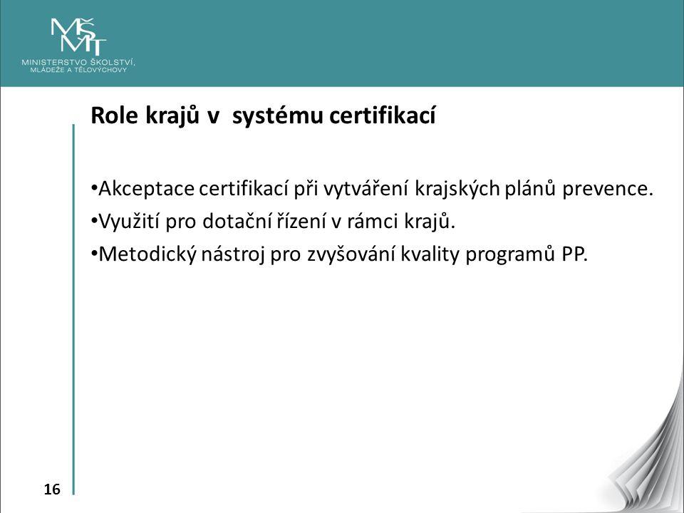 Role krajů v systému certifikací