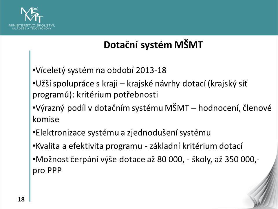 Dotační systém MŠMT Víceletý systém na období 2013-18