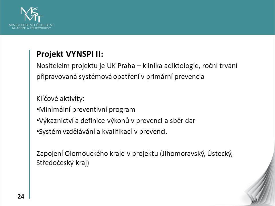 Projekt VYNSPI II: Nositelelm projektu je UK Praha – klinika adiktologie, roční trvání. připravovaná systémová opatření v primární prevencia.