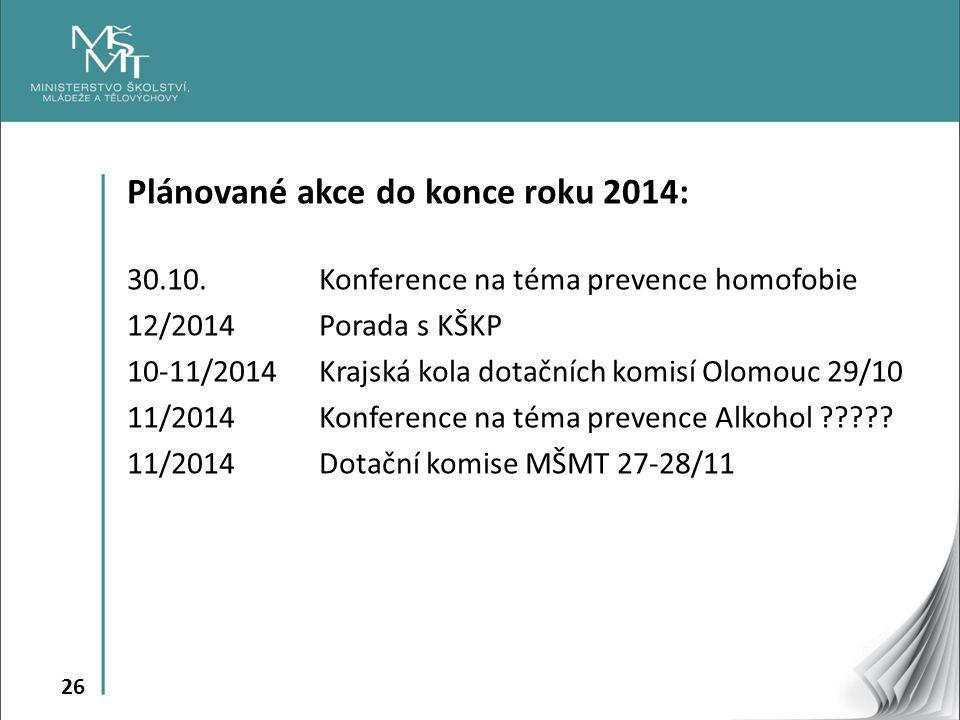 Plánované akce do konce roku 2014: