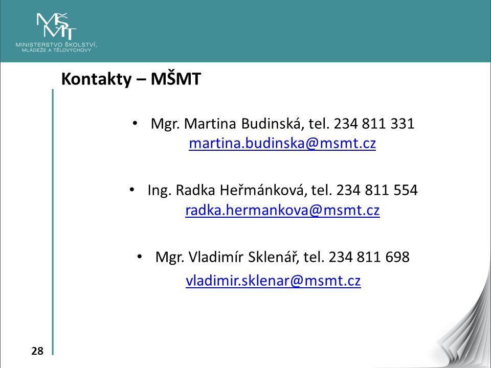 Kontakty – MŠMT Mgr. Martina Budinská, tel. 234 811 331 martina.budinska@msmt.cz. Ing. Radka Heřmánková, tel. 234 811 554 radka.hermankova@msmt.cz.