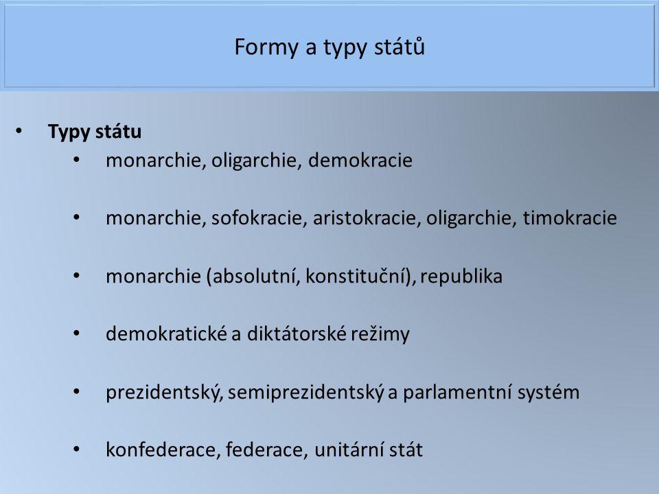 Formy a typy států Typy státu monarchie, oligarchie, demokracie