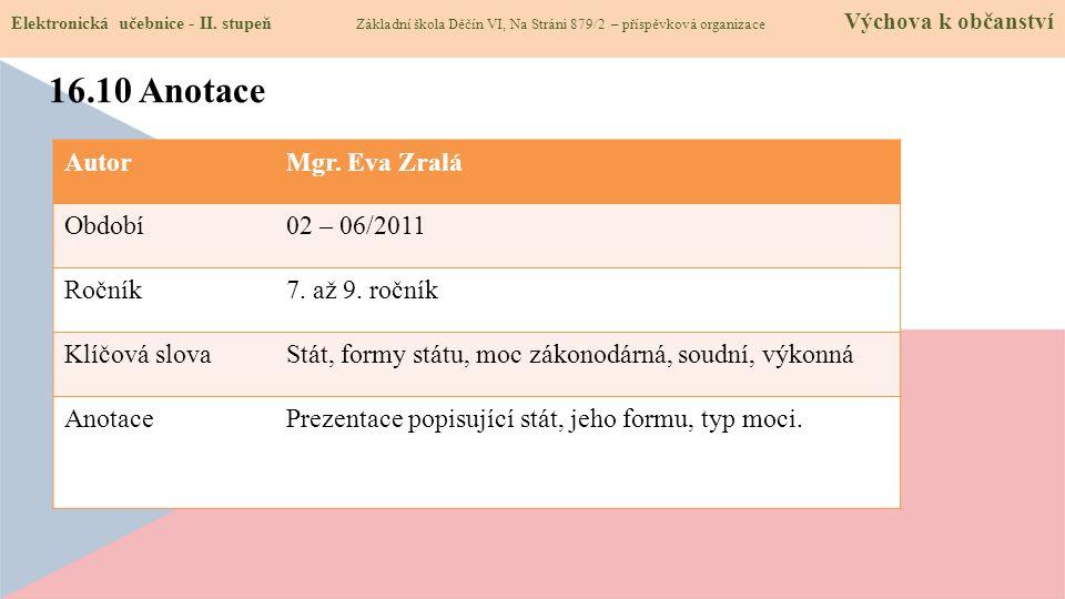 16.10 Anotace Autor Mgr. Eva Zralá Období 02 – 06/2011 Ročník