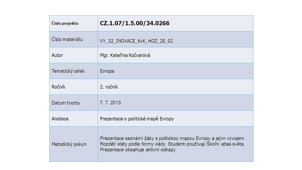 CZ.1.07/1.5.00/34.0266 Číslo materiálu VY_32_INOVACE_KvK_HOZ_2E_02