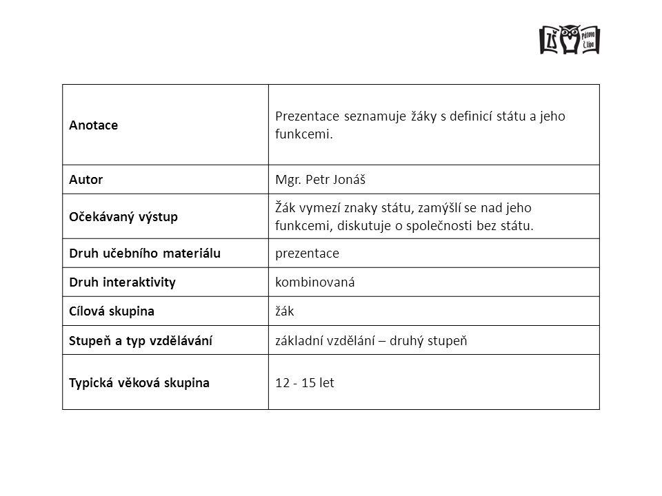 Anotace Prezentace seznamuje žáky s definicí státu a jeho funkcemi. Autor. Mgr. Petr Jonáš. Očekávaný výstup.