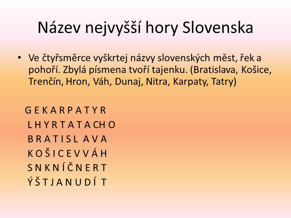 Název nejvyšší hory Slovenska