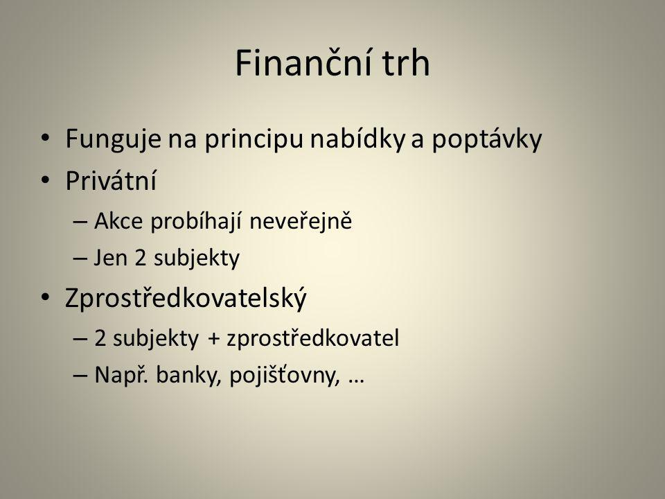 Finanční trh Funguje na principu nabídky a poptávky Privátní