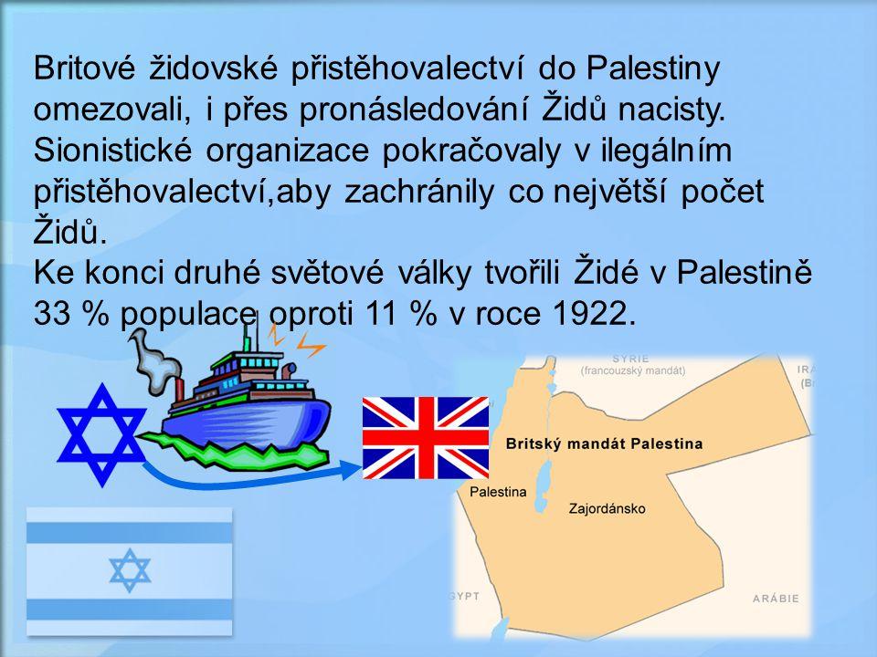 Britové židovské přistěhovalectví do Palestiny omezovali, i přes pronásledování Židů nacisty. Sionistické organizace pokračovaly v ilegálním přistěhovalectví,aby zachránily co největší počet Židů.