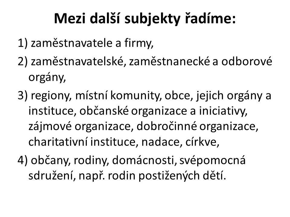 Mezi další subjekty řadíme: