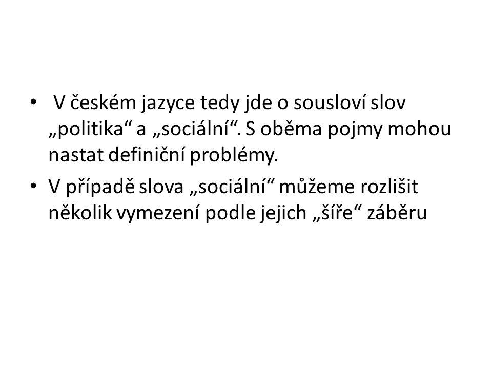 """V českém jazyce tedy jde o sousloví slov """"politika a """"sociální"""