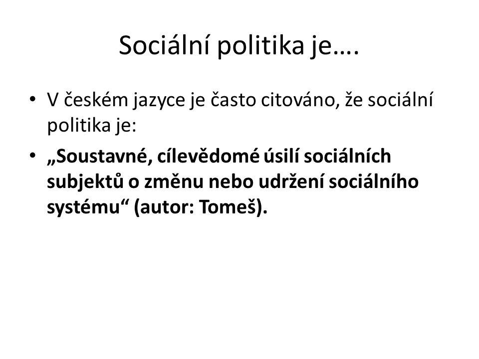 Sociální politika je…. V českém jazyce je často citováno, že sociální politika je: