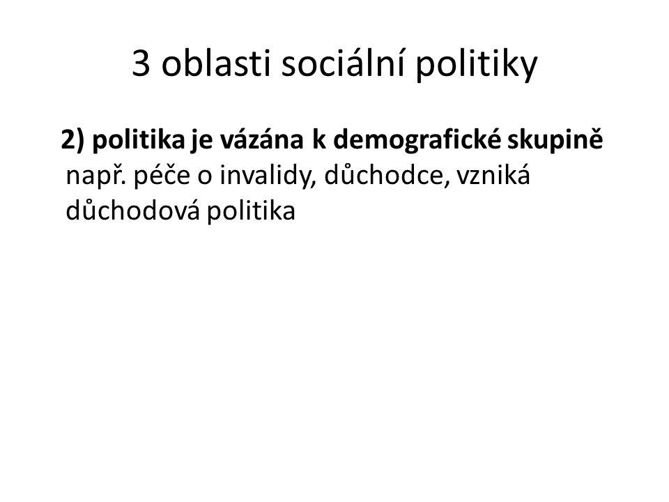 3 oblasti sociální politiky