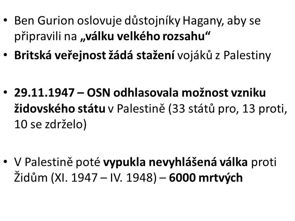 """Ben Gurion oslovuje důstojníky Hagany, aby se připravili na """"válku velkého rozsahu"""