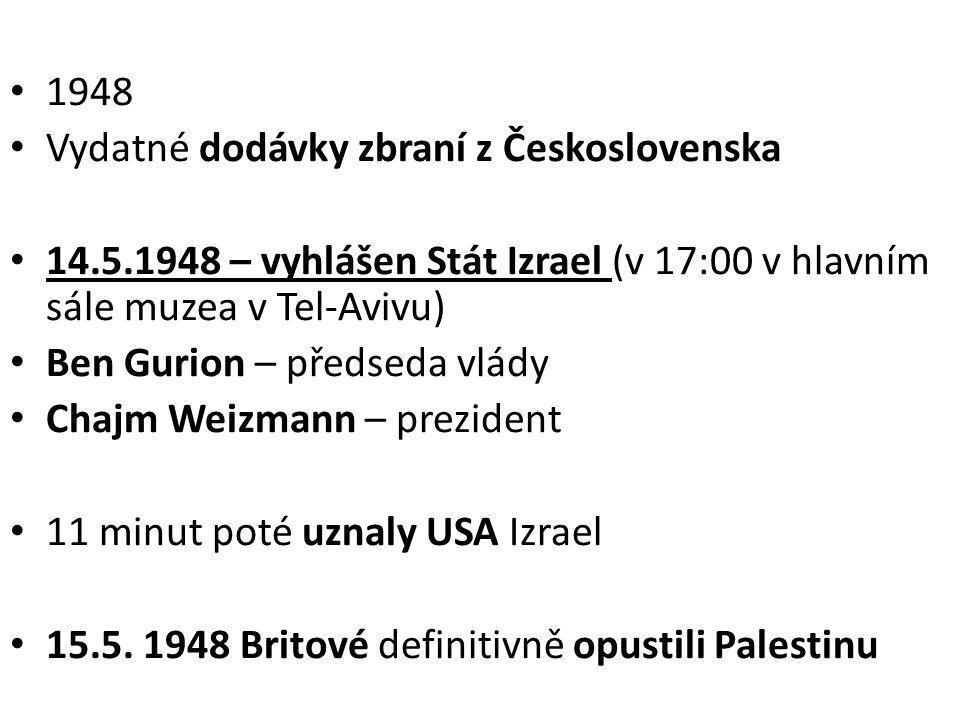 1948 Vydatné dodávky zbraní z Československa. 14.5.1948 – vyhlášen Stát Izrael (v 17:00 v hlavním sále muzea v Tel-Avivu)