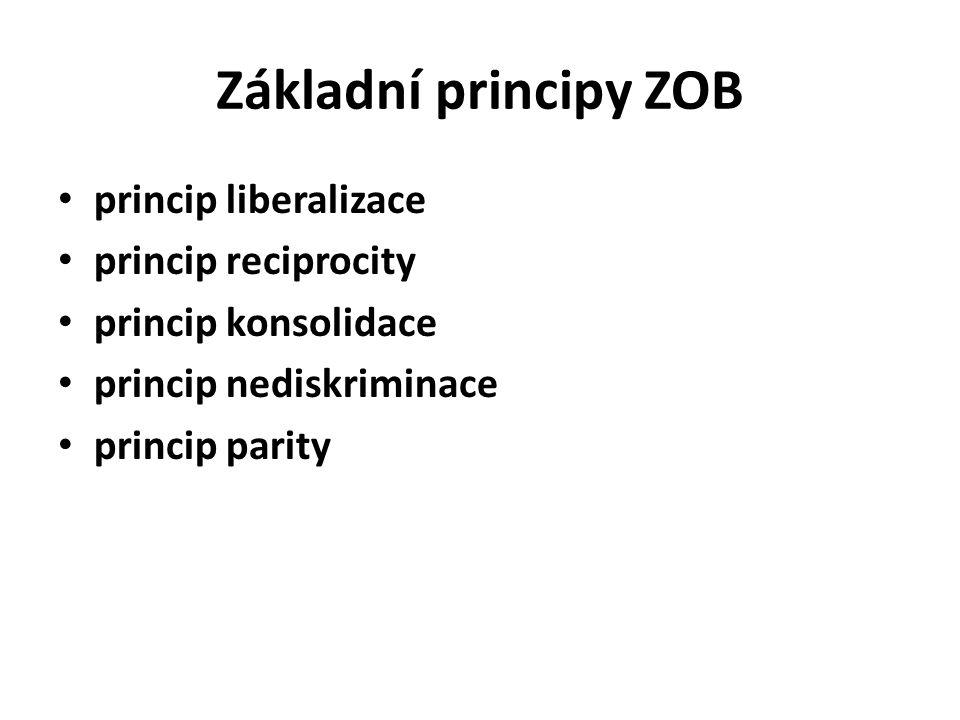 Základní principy ZOB princip liberalizace princip reciprocity