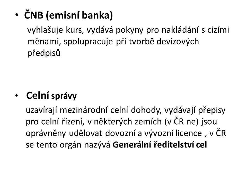 ČNB (emisní banka) vyhlašuje kurs, vydává pokyny pro nakládání s cizími měnami, spolupracuje při tvorbě devizových předpisů.