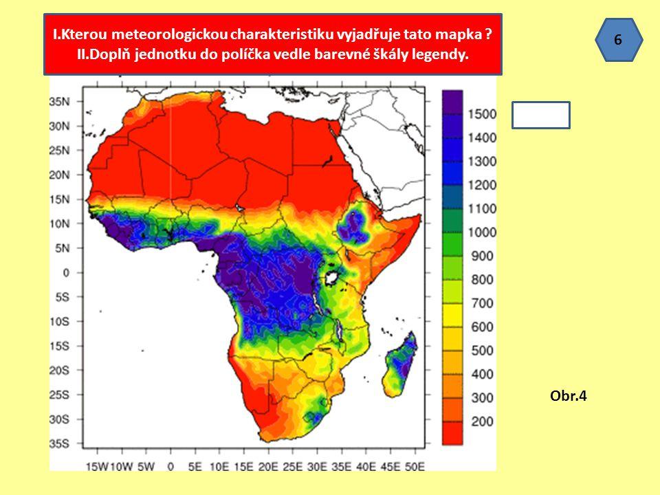 I.Kterou meteorologickou charakteristiku vyjadřuje tato mapka