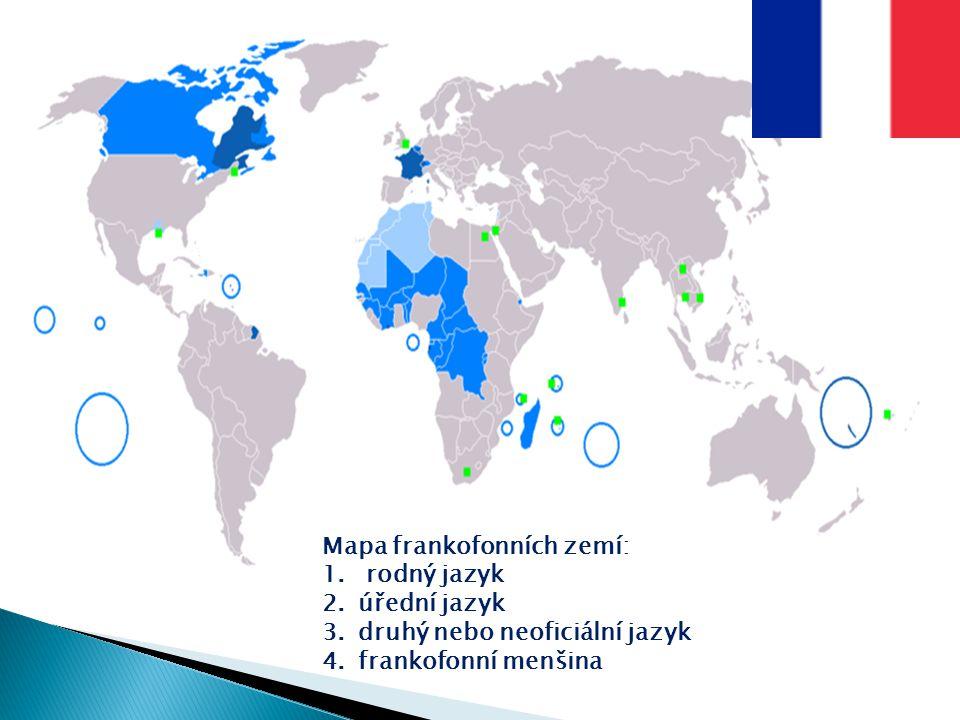 Mapa frankofonních zemí: