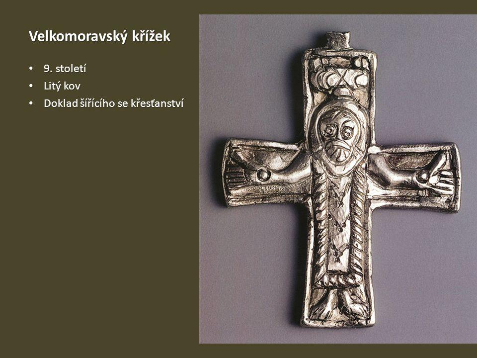 Velkomoravský křížek 9. století Litý kov