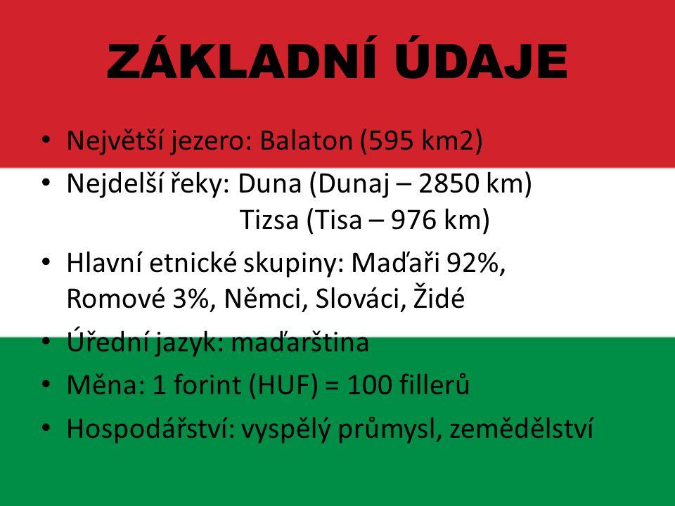 ZÁKLADNÍ ÚDAJE Největší jezero: Balaton (595 km2)