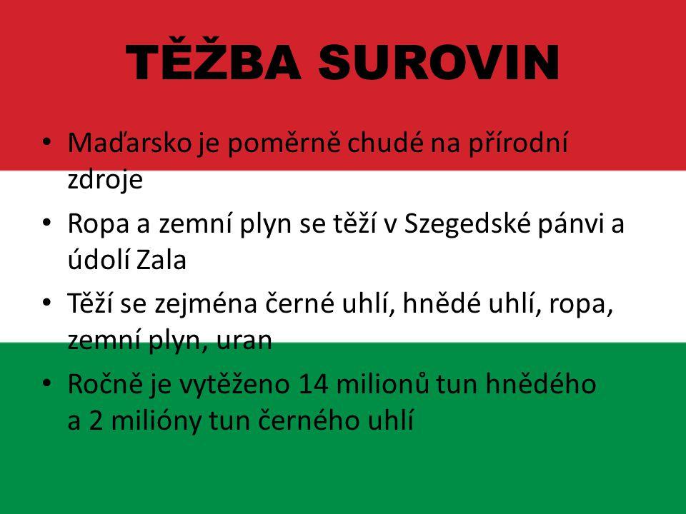 TĚŽBA SUROVIN Maďarsko je poměrně chudé na přírodní zdroje