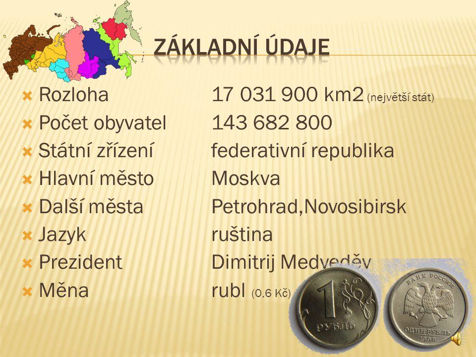 ZÁKLADNÍ ÚDAJE Rozloha 17 031 900 km2 (největší stát)