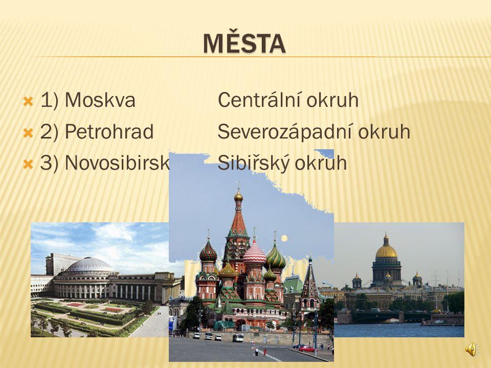 MĚSTA 1) Moskva Centrální okruh 2) Petrohrad Severozápadní okruh