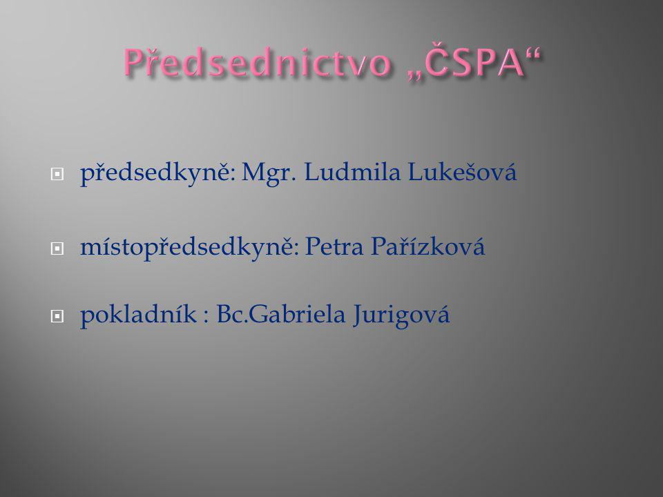 """Předsednictvo """"ČSPA předsedkyně: Mgr. Ludmila Lukešová"""