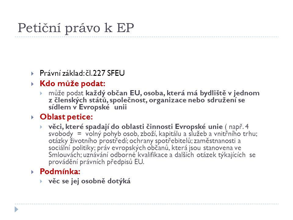 Petiční právo k EP Právní základ: čl.227 SFEU Kdo může podat:
