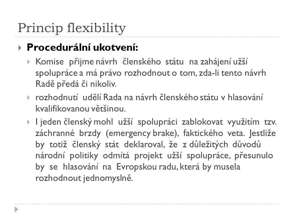 Princip flexibility Procedurální ukotvení: